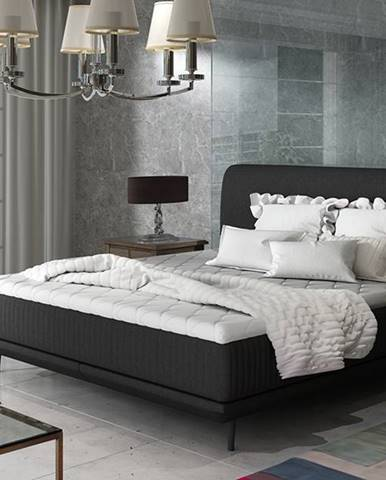 Ancona 180 čalúnená manželská posteľ čierna (Sawana 14)