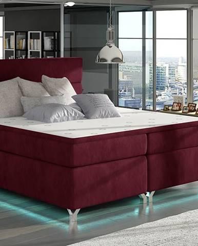 Avellino 180 čalúnená manželská posteľ s úložným priestorom bordová