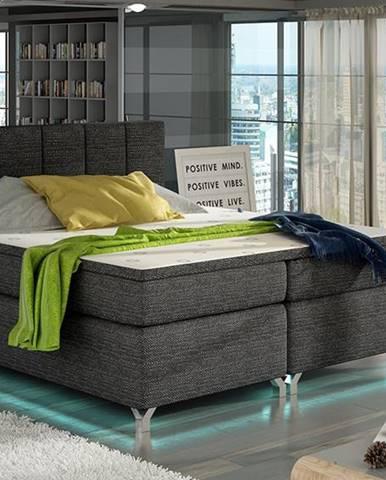 Barino 140 čalúnená manželská posteľ s úložným priestorom čierna (Berlin 02)