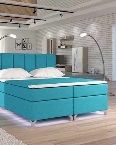 Barino 180 čalúnená manželská posteľ s úložným priestorom svetlomodrá