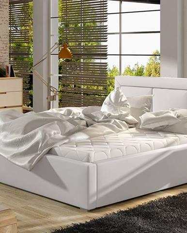 Branco 160 čalúnená manželská posteľ s roštom biela
