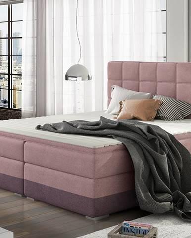 Dalino 140 čalúnená manželská posteľ s úložným priestorom ružová