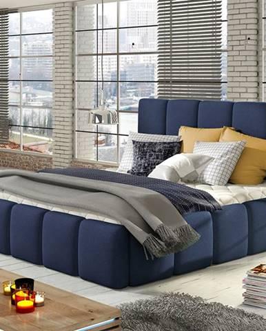 Evora 140 čalúnená manželská posteľ tmavomodrá