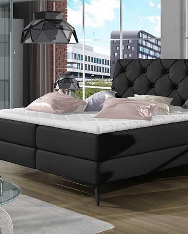 Lazio 180 čalúnená manželská posteľ s úložným priestorom čierna (Soft 11)