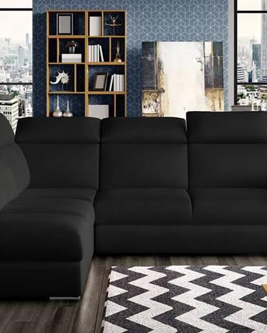 Leren L rohová sedačka s rozkladom a úložným priestorom čierna (Velvet Mat 99)