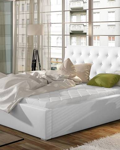 Monzo UP 160 čalúnená manželská posteľ s roštom biela