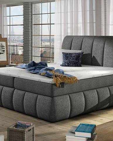Vareso 140 čalúnená manželská posteľ s úložným priestorom sivá (Sawana 05)