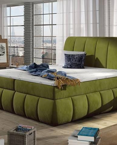 Vareso 180 čalúnená manželská posteľ s úložným priestorom zelená