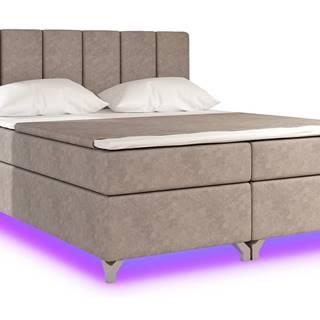 Barino 180 čalúnená manželská posteľ s úložným priestorom svetlohnedá