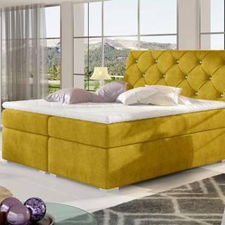 Beneto 140 čalúnená manželská posteľ s úložným priestorom žltá