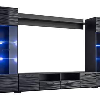 Modica obývacia stena s osvetlením čierna