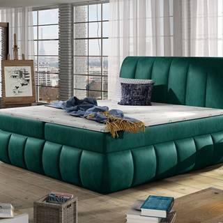 Vareso 180 čalúnená manželská posteľ s úložným priestorom tmavozelená