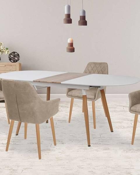 Halmar Caliber oválny rozkladací jedálenský stôl biela