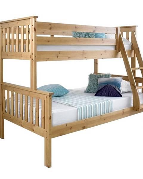 Tempo Kondela Luini 90 drevená poschodová posteľ s roštami prírodná