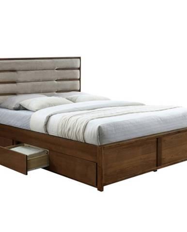 Betra 160 manželská posteľ s roštom a úložným priestorom orech