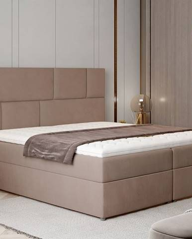 Ferine 165 čalúnená manželská posteľ s úložným priestorom hnedá
