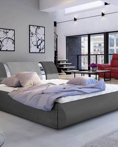 Folino 140 čalúnená manželská posteľ s roštom tmavosivá