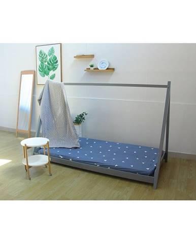 Grosi 90 drevená jednolôžková posteľ s roštom sivá