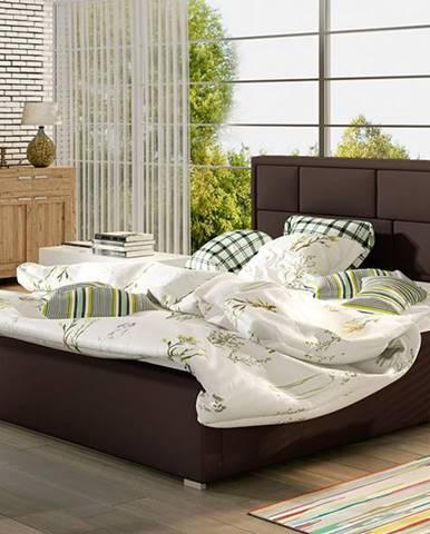 Liza UP 160 čalúnená manželská posteľ s roštom tmavohnedá (Soft 66)