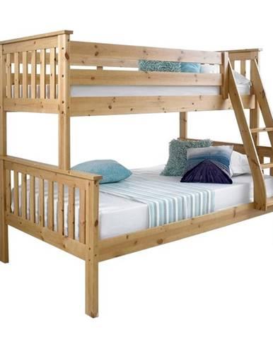 Luini 90 drevená poschodová posteľ s roštami prírodná