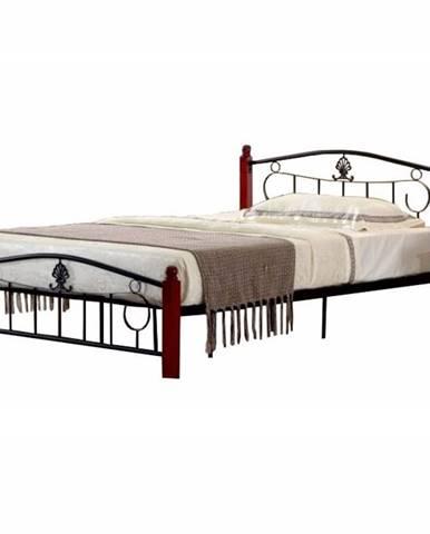 Magenta 140 kovová manželská posteľ s roštom čierna
