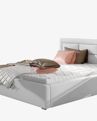 Rovigo UP 140 čalúnená manželská posteľ s roštom biela