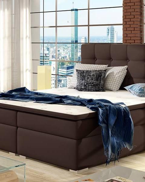 NABBI Isola 180 čalúnená manželská posteľ tmavohnedá (Soft 66)
