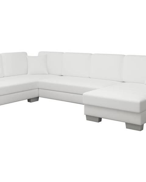 NABBI Mariano L rohová sedačka u s rozkladom a úložným priestorom biela