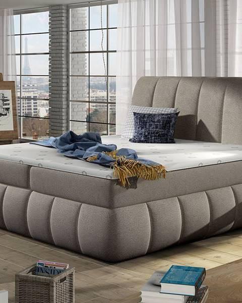 NABBI Vareso 160 čalúnená manželská posteľ s úložným priestorom svetlohnedá (Dora 22)