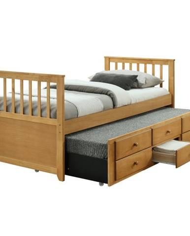 Austin New 90 rozkladacia posteľ s prísteľkou dub