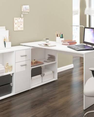 Beat L rohový písací stôl biela