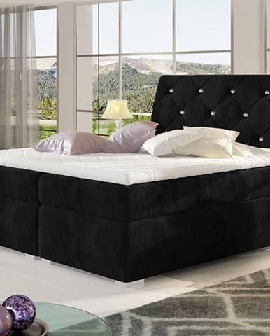 Beneto 140 čalúnená manželská posteľ s úložným priestorom čierna (Kronos 07)