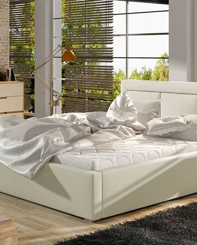 Branco UP 140 čalúnená manželská posteľ s roštom béžová
