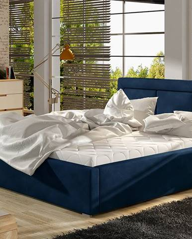 Branco UP 160 čalúnená manželská posteľ s roštom tmavomodrá