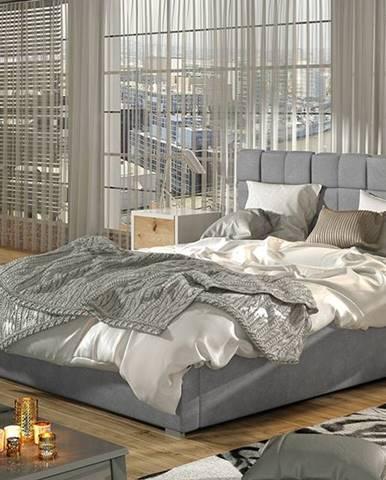 Galimo 140 čalúnená manželská posteľ s roštom svetlosivá