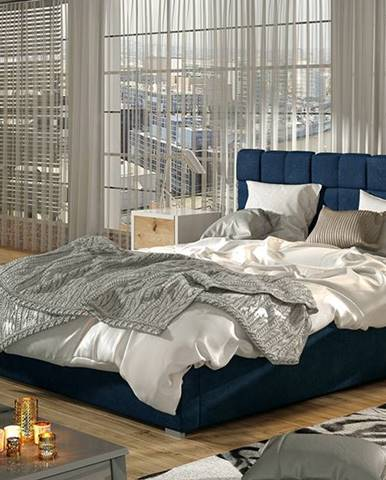 Galimo UP 180 čalúnená manželská posteľ s roštom tmavomodrá