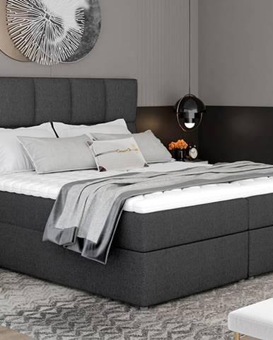Grosio 165 čalúnená manželská posteľ s úložným priestorom tmavosivá
