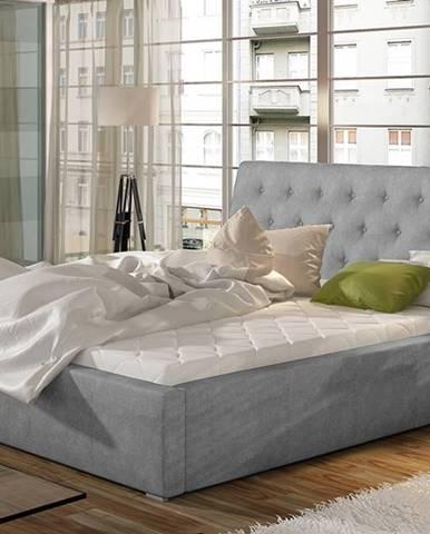 Monzo 140 čalúnená manželská posteľ s roštom svetlosivá (Paros 05)