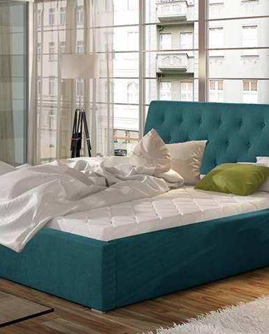 Monzo 180 čalúnená manželská posteľ s roštom tyrkysová