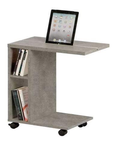 Niden príručný stolík na kolieskach svetlý betón