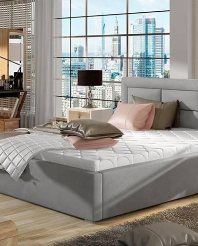 Rovigo 140 čalúnená manželská posteľ s roštom svetlosivá (Paros 05)
