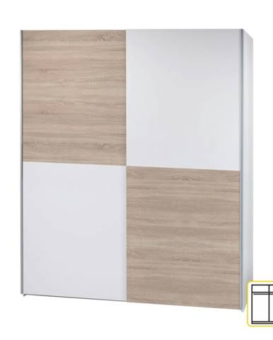 Victor 2 New 2D šatníková skriňa s posuvnými dverami biela