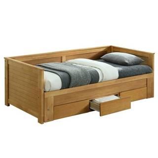 Goreta 90 jednolôžková posteľ s roštami a úložným priestorom dub