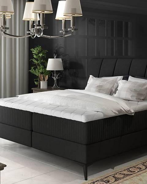 NABBI Altama 180 čalúnená manželská posteľ s úložným priestorom čierna (Sawana 14)