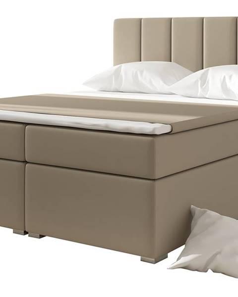 NABBI Barmo 180 čalúnená manželská posteľ s úložným priestorom béžová