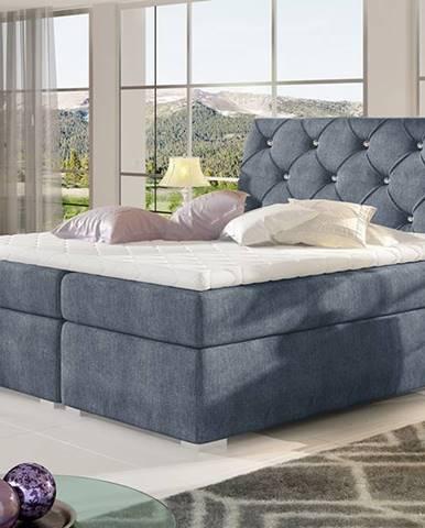 Beneto 160 čalúnená manželská posteľ s úložným priestorom modrá