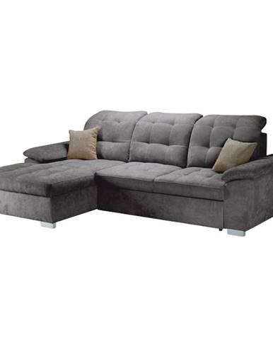 Evangelin L rohová sedačka s rozkladom a úložným priestorom sivá