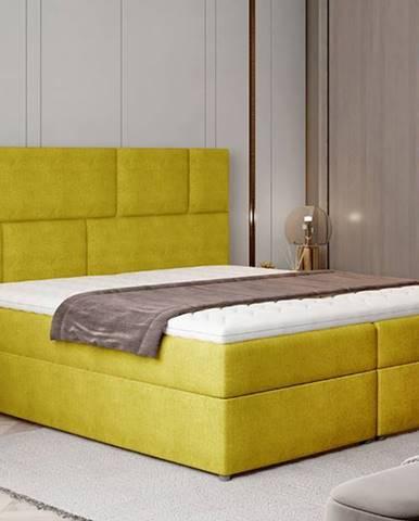 Ferine 165 čalúnená manželská posteľ s úložným priestorom žltá