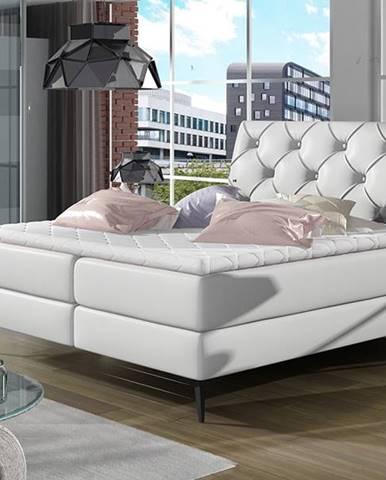 Lazio 160 čalúnená manželská posteľ s úložným priestorom biela