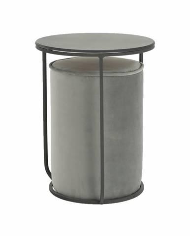 Leila toaletný stolík s taburetkou sivá